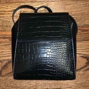 Black *fake* crocodile skin mini backpack